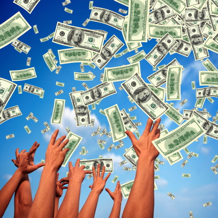 hands reaching to the sky for money