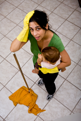 Exhausted Mother Cleaning