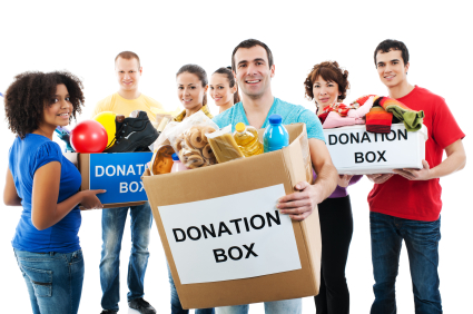 Group of a volunteers holding donation boxes.