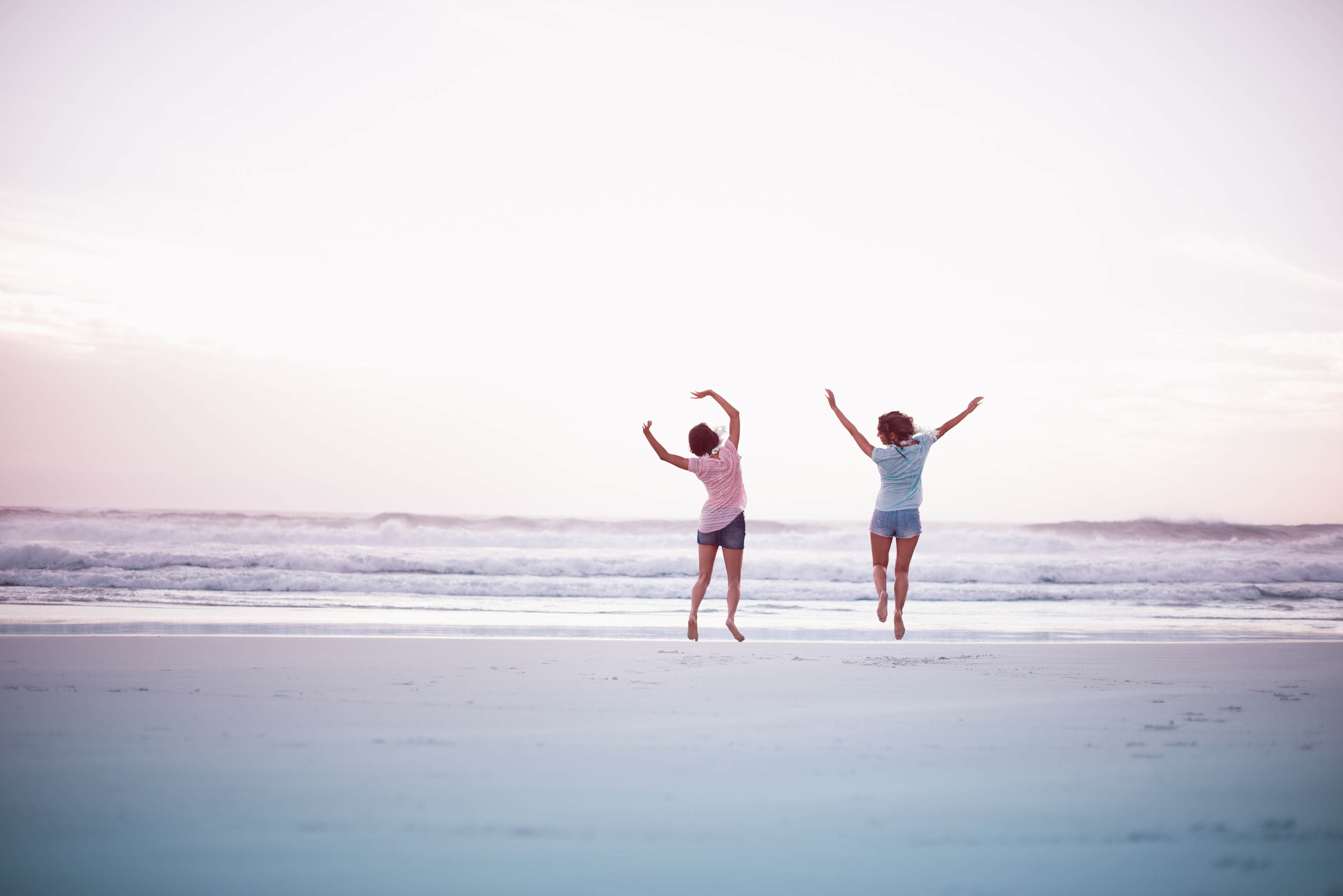 Two Girls Having Fun on the Beach