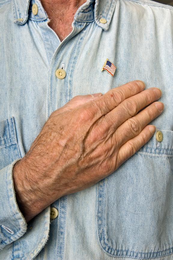 USA Flag Lapel Pin & Hand