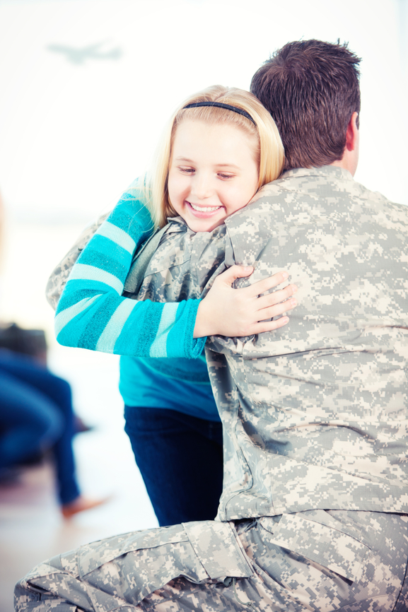 Airport: Girl Hugs Father Returning from Service