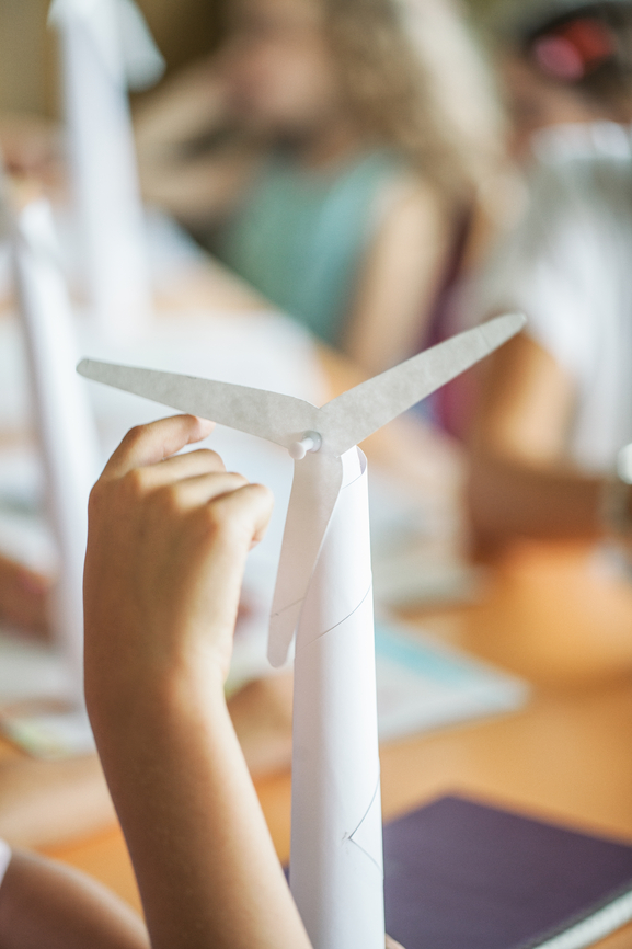 Students Making Paper Windmills