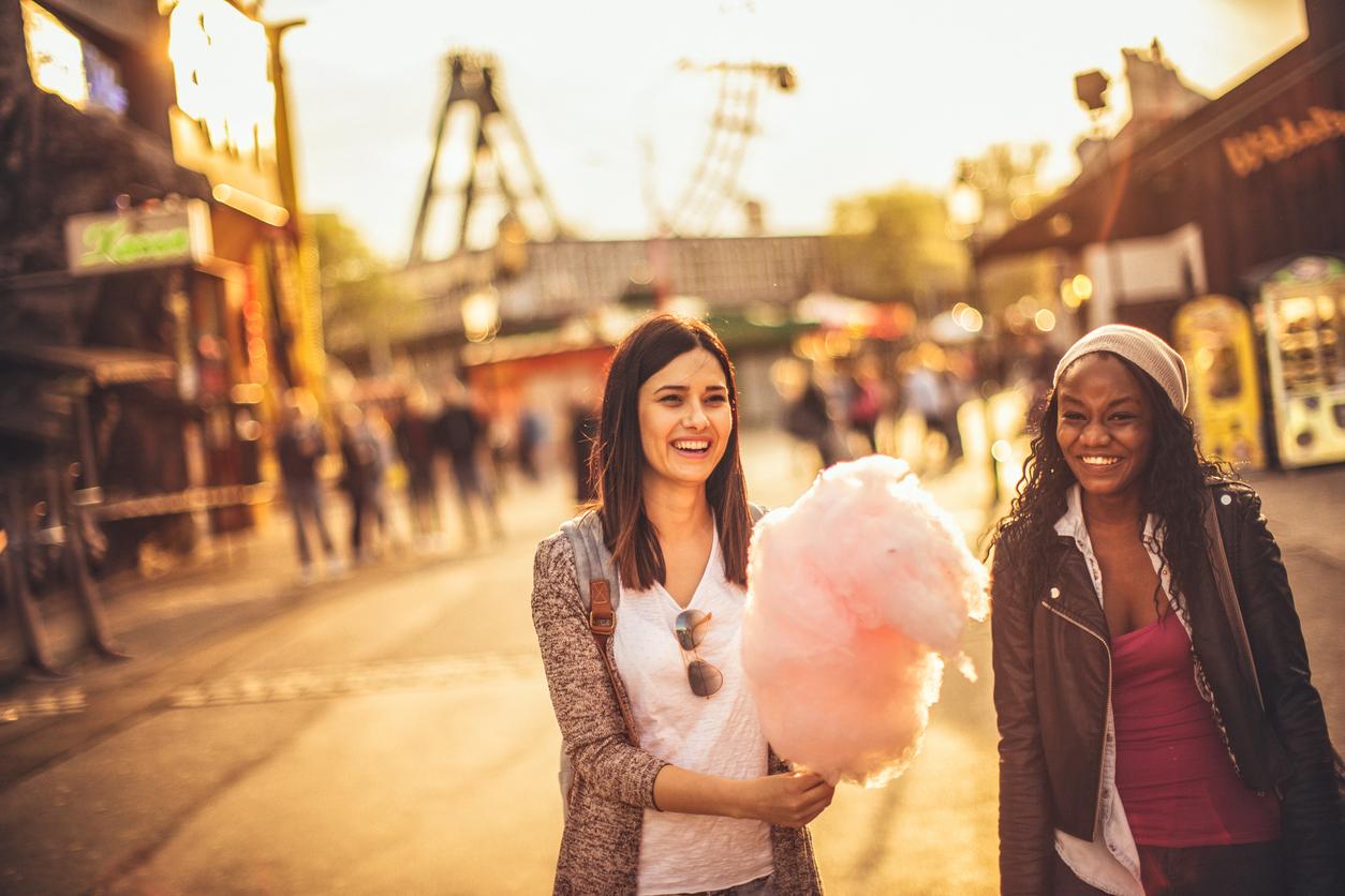 Friends in the amusement park