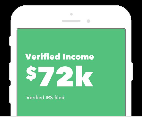 Verified Income $72k. Verfied IRS-filed